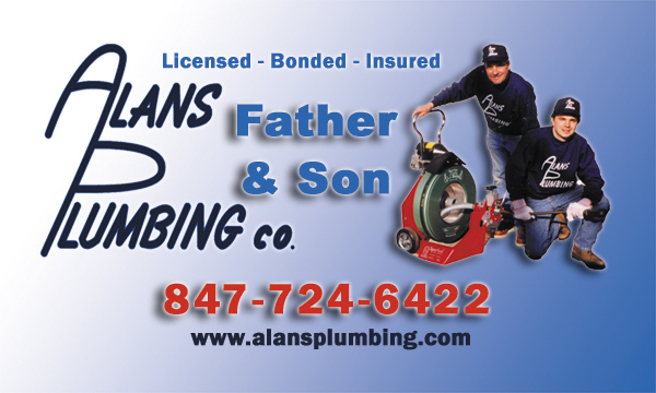 alans plumbing business card